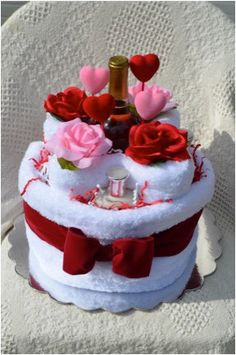 Valentines Towel Cake Gift Set by KandEsSweetsnMore on Etsy, $40.00