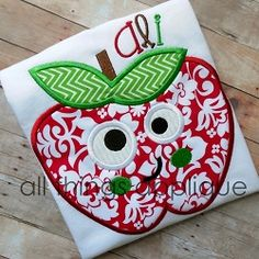Happy Apple Applique - 4 Sizes! | What's New | Machine Embroidery Designs | SWAKembroidery.com All Things Applique
