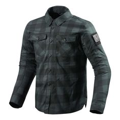 REV'IT Bison Overshirt - Black / Grey | Motorcycle Shirts | FREE UK delivery - The Cafe Racer