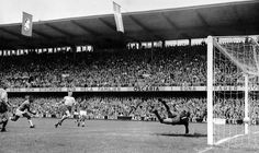 June 29,  1958: PELE HELPS BRAZIL TO WIN WORLD CUP TITLE  -   17-year-old Pele, second from left, scores Brazil's third goal in the World Cup soccer final against Sweden in Stockholm. At right, Sweden's goalkeeper Kalle Svensson makes a futile effort to make a save. Brazil wins 5-2 to take the World Cup championship.