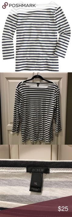 J.Crew navy striped boat neck tee This is a  classic striped boat neck from J.Crew in a size extra large. It is white and navy striped and is 100% cotton. Shoulder to shoulder is 18 1/2 inches, length of sleeve is 20 inches, armpit to armpit is 23 inches in length is 27 inches. J. Crew Tops Tees - Long Sleeve