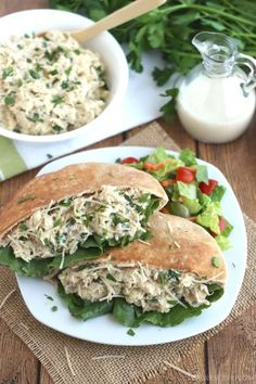 These easy Crock Pot Chicken Caesar Sandwiches are so quick and easy! The perfect keep-the-kitchen-cool summer dinner! ~ from Two Healthy Kitchens at www.TwoHealthyKitchens.com