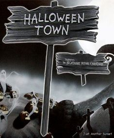 nightmare before christmas halloween town wooden yard sign spoo