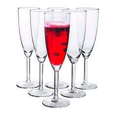 SVALKA Champagne flute - IKEA they come in sets of 6 for under $5.00 great for New Year's Eve Toast or a fabulous Champ Brunch.