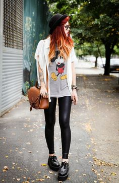 Tee - We Are Cow; Blouse - Collective Habit; Leggings - ASOS; Creepers - T.U.K