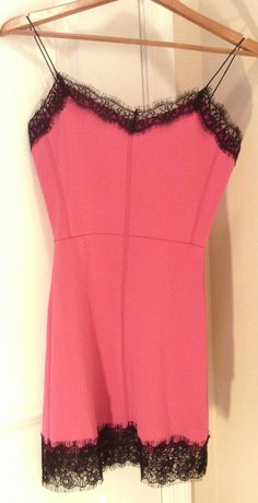 SEXY PINK/BLACK V NECK CLEAVAGE LACE COCKTAIL MINI DRESS SIZE SMALL JUNIORS #Unbranded #Sexy #Clubwear