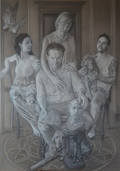 """""""Duilio's family"""" pencil and white conté on paper on panel cm 120x170"""
