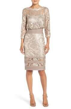 Free shipping and returns on Tadashi Shoji Sequin Lace Blouson Dress at Nordstrom.com. Scintillating sequins bring out the lacy texture of a polished party dress that whittles your waist with a billowy blouson bodice contrasted by fitted, pleated bands. An illusion yoke mirrored at the banded hem shows off just the right amount of skin.