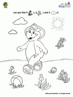 BJ Park Coloring Page Barney Friends Pages For Kids