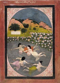 'Sindhuri Ragini' Girls Swimming, painted on paper, Pahari School, Guler Style, 1790 Museum number: - The British Museum Mughal Paintings, Indian Paintings, Indian Art Gallery, Om Namah Shivaya, Indian Folk Art, India Art, Krishna Art, Sanskrit, Islamic Art