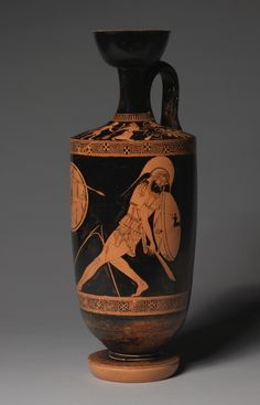 Lekythos, painted by Douris, Cleveland Museum of Art  In the mythological War of the Gods and Giants (Gigantomachy), Athena slays the giant Enkelados with her spear. He reels backward, his eyes rolling skyward. The giant's broken spear is a beautiful compositional bridge between the two figures.