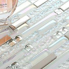 Sample Tile New Design TST Glass Metal Tile Iridescent White Glass Silver Mirror Stainless Steel Blends Interlocking Strip Wall Tiles (1 Sample [4''x12'']) - - Amazon.com