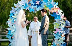 Pinwheel altar arch. Could make it in any color to match your theme.