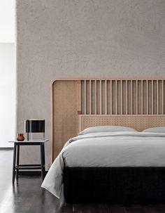 High headboard for double bed OTTOW By Wiener GTV Design design storage associati Bed Headboard Design, Bedroom Furniture Design, Headboards For Beds, Bed Furniture, Bed With Headboard, Bed Back Design, Wood Bed Design, Design Design, Design Ideas