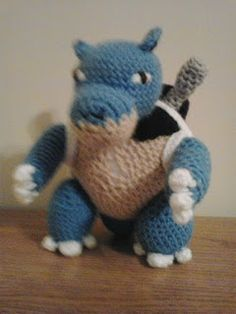 """This is an adaptation of my BLASTOISE pattern to make him look like the clone that Mewtwo creates in the """"Pokemon: The First Movie. Blastoise Pokemon, My Pokemon, Charizard, Charmander, Pokemon Crochet Pattern, Amigurumi Patterns, Crochet Patterns, Hat Patterns, Tricot"""