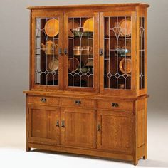 Exceptionnel Original Stickley Mission Oak 3 Door China Cabinet W/dimmable Interior  Lighting And Matching