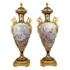 A pair of large and magnificent ormolu mounted Sevres porcelain vases and lids, 19th century