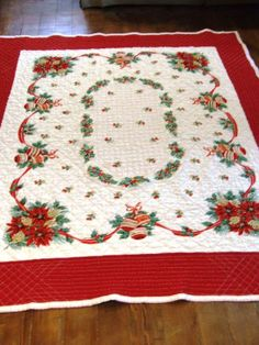 Christmas Quilt made with a vintage tablecloth