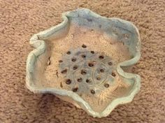Light Blue and Cream Handmade Clay Bowl