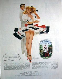 1948 SPRINGMAID FABRICS - SPRINGS MILLS - PIN-UP BY FRITZ WILLIS PRINT AD!  #SpringMills