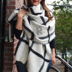 Blanket Scarf / Monogrammed Scarf / Personalized Scarf / Plaid Scarf / Gifts for Her / Christmas Gifts for Teachers / Black and White Personalized Christmas Gifts, Monogram Gifts, Diy Blanket Scarf, Monogrammed Scarf, Bridesmaid Shirts, Fall Scarves, Womens Scarves, Making Ideas, Plaid Scarf