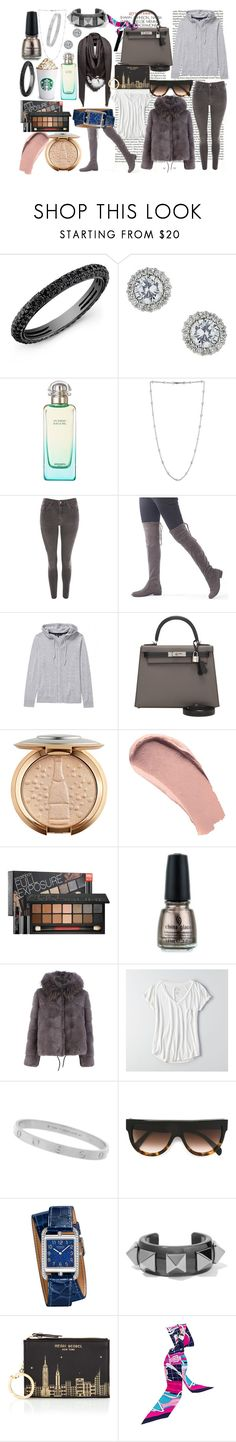"""Grey Kinda Day"" by serena-copsey ❤ liked on Polyvore featuring Miss Selfridge, Hermès, Topshop, Burberry, Smashbox, China Glaze, Yves Salomon, American Eagle Outfitters, Cartier and CÉLINE"