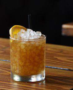 Fall Into Italy ¾ oz. Averna ¾ oz. Cognac ¾ oz. Jamaican rum ¾ oz. fresh lemon juice ¾ oz. simple syrup (1:1) 2 dashes chocolate or mole bitters