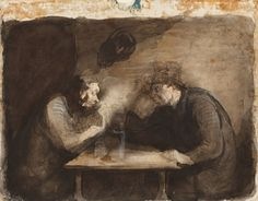 Two Drinkers - Honore Daumier Honore Daumier, Plastic Art, Exhibition, Great Words, Wood Engraving, Arts And Entertainment, Art Studies, Figure Drawing, Dibujo