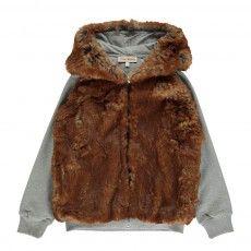 Furry Hooded Sweatshirt Chocolate