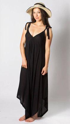 Maxi Jumpsuit, Boho Jumpsuit, Womens Black Jumpsuit, Maxi Dress, Wide Leg Jumpsuit, Womens Jumpsuit, Summer Jumpsuit, Fits size S-XL