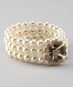 Take a look at this Antique Gold & Pearl Flower Stretch Bracelet by Lolita on #zulily today! One of our bestsellers! Great for #bridal!