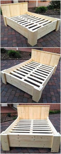 Here is the image, we have a beautifully designed recycled wood pallet bed idea . - Here is the image, we have a beautifully designed recycled wood pallet bed idea for you. Diy Pallet Bed, Pallet Patio Furniture, Wooden Pallet Furniture, Diy Furniture Projects, Diy Pallet Projects, Wood Pallets, Furniture Plans, Furniture Stores, Rustic Furniture