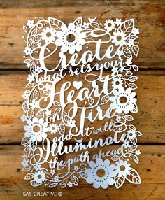 Papercut Template 'Create What Sets Your Heart on Fire' PDF JPEG for handcutting & SVG file for Silhouette Cameo or Cricut Paper Cutting Patterns, Paper Cutting Templates, Silhouette Cameo Christmas, Silhouette Cameo Projects, Paper Lace, Cut Paper, Origami, Paper Cut Design, Up Book