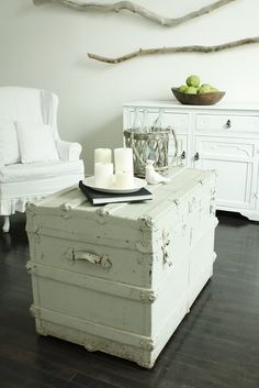 Old trunk painted white. I need to do this to mine!! It's just sitting in the attic