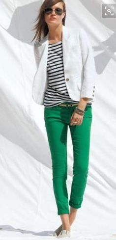 White blazer black and white striped shirt,green skinny jeans