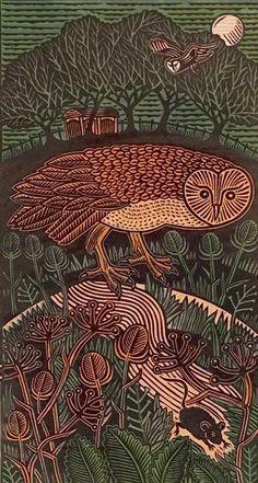'Night Run III' by Hugh Ribbans (linocut)