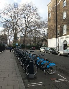 Boris Bikes in an unused serried rank at pm in Central London — Tony Sargeant – Anthony Sargeant — anthonyjsargeanttony — TONY Anthony SARGEANT Anthony Sargeant took this photograph in Manchester Square in London during February 2013 on his way. South London, Landscape Photographers, Tool Design, Over The Years, Manchester, Street View, February, Photographs, Places