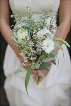 Greenery wedding bouquets are one of the hottest wedding trends in and they really bring a fresh touch to any bridal look. Such bouquets are suitable for woodland, rustic, vintage and any type of outdoor wedding. Small Wedding Bouquets, Rustic Wedding Flowers, Bride Bouquets, Flower Bouquet Wedding, Floral Wedding, Herb Bouquet, Flower Bouquets, Bridesmaid Flowers, Purple Wedding