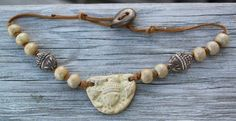 Handmade Tan Ceramic Acorn Necklace with by JoyfulGemsandStones