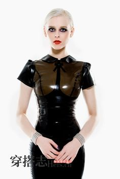 Beautiful latex dress from a Chinese article on latex fashion. Anybody know who made this? #fashion #fetish #latex