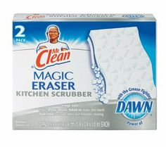 2CT Mag Eraser Kitchen by Mr. Clean. $4.54. Cuts through grease and stains.. Infused with Dawn® dish detergent.. Includes 12 boxes of two pads each.. Effectively removes organic debris and common soils.. Combine the strength of Mr. Clean Magic Eraser with the grease-fighting power of Dawn detergent. Type: All Purpose Cleaners. Quantity: 2/pk. Removes 3 times more greasy kitchen mess per swipe than the leading all-purpose bleach spray. Combine the strength of ...
