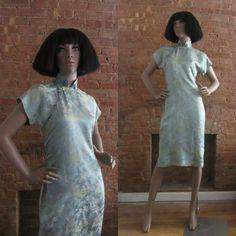 1950s pastel blue silk cheongsam dress size von GildedGypsies