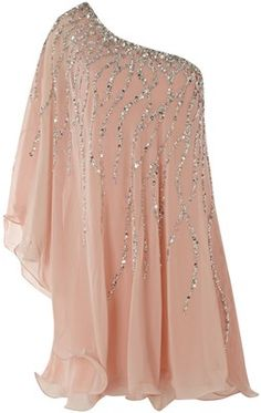 Asymmetrical off the shoulder light peach shifty, flowy dress detailed with a crystal pattern for that extra glam factor.