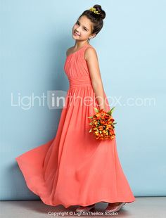 Lanting Bride Ankle-length Chiffon Junior Bridesmaid Dress - Mini Me A-line One Shoulder with Side Draping 2016 - $69.99