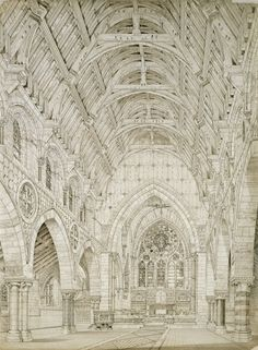 Richard Norman Shaw RA (1831-1912), Design for a church: interior perspective, c.1864, pen and ink. Photo: RA/Prudence Cuming Associates Limited © Royal Academy of Arts, London.