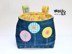 Lenkertasche Blumen Upcycling Jeans