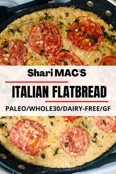 This Paleo & Whole30 Italian flatbreadis loaded with flavour, the tangy tomatoes, roasted garlic goodness, vegan parmesan umami, and crunchy crust! Also delish with a glass of wine… Whole 30 Recipes, Real Food Recipes, Healthy Recipes, Sweets Recipes, Real Food Cafe, Dairy Free Diet, Macro Meals, Vegan Parmesan, Paleo Bread