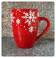 Christmas mug, Red Snowflake coffee mug, red mug, coffee cup, Christmas mug, Christmas gift range, UK seller by WhimsicalUK on Etsy https://www.etsy.com/listing/212759182/christmas-mug-red-snowflake-coffee-mug