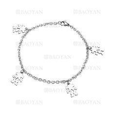 brazalete de ninas plateado en acero inoxidable para mujer -SSBTG924911