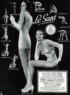 Publicidad Francesa Warner's (Lingerie) 1934 Le Gant Girdle, Stockings Hosiery
